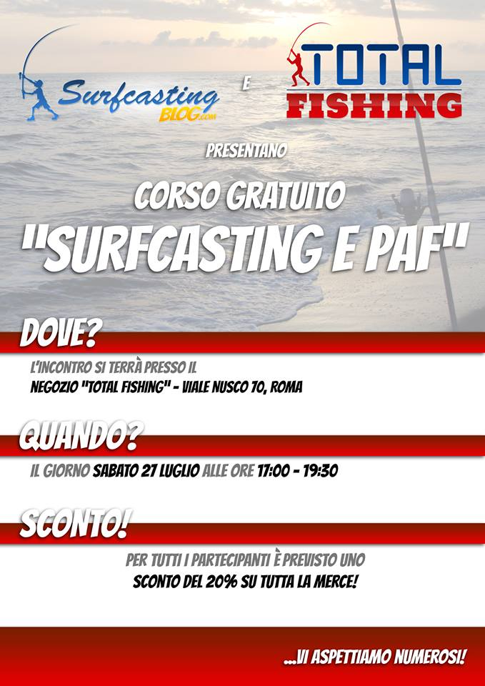Corso di surfcasting&paf per neofiti